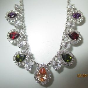 Sterling Silver and Multicolored Crystal Necklace